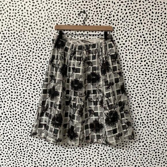 NWT Halogen Grid Print Layered Skirt